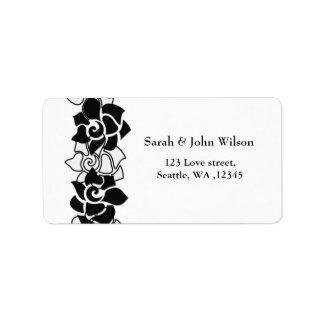 noir floral, étiquette de adresse de retour