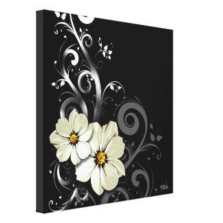 Noir floral fleuri du Flourish | Toiles