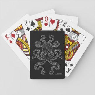 Noir gris d'océan de poulpe d'ensemble nautique jeu de cartes