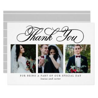 Noir luxueux de carte de remerciements de mariage