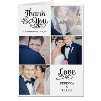 Noir moderne de carte de remerciements de mariage
