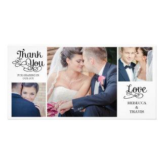 Noir moderne de cartes de Merci de mariage de call Cartes De Vœux Avec Photo