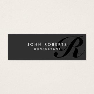 Noir moderne élégant professionnel de monogramme mini carte de visite