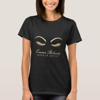 Noir moderne et or de maquilleur de mèches t-shirt