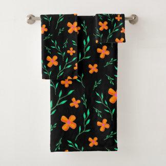 Noir orange de motif de fleur