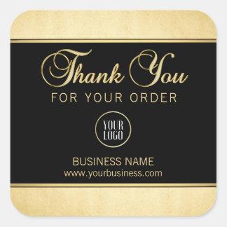 Noir professionnel d'or de Merci d'affaires avec Sticker Carré