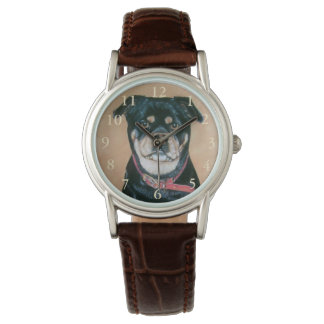 noir réaliste d'art de portrait de chien de carlin montres bracelet