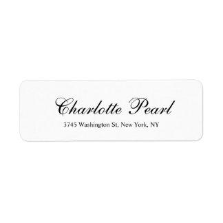 Noir simple classique et blanc d'écriture élégante étiquettes d'adresse retour