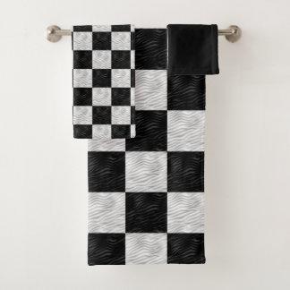 Noir texturisé onduleux et blanc Checkered
