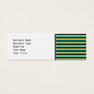 Noir, turquoise et rayures jaunes carte de visite petit format