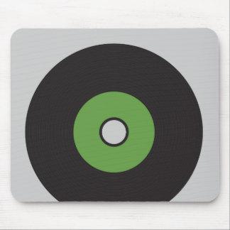 Noir vert et gris de disque vinyle tapis de souris