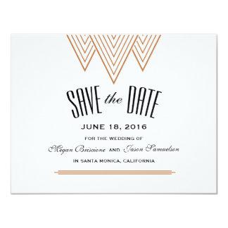 Noir vintage de diamant et économies d'en cuivre carton d'invitation 10,79 cm x 13,97 cm