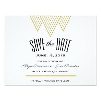Noir vintage de diamant et économies d'or la date carton d'invitation 10,79 cm x 13,97 cm