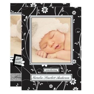 Noir vintage et blanc - faire-part de naissance