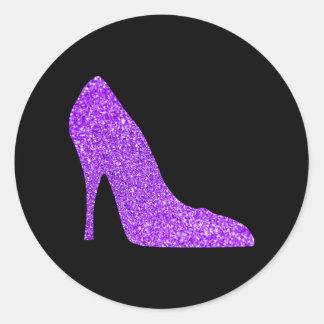 Noir violet Girly de talon haut de scintillement Sticker Rond