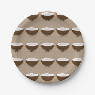 Noix de coco de sourire assiettes en papier