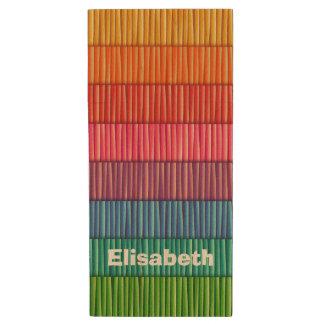 Nom coloré abstrait de motif de rayures clé USB 2.0 en bois