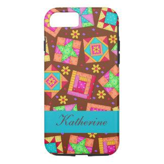 Nom de blocs de patchwork d'art d'édredon de Brown Coque iPhone 7