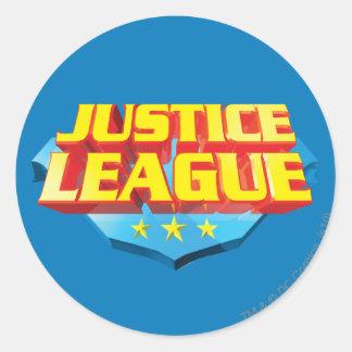 Nom de ligue de justice et logo de bouclier sticker rond