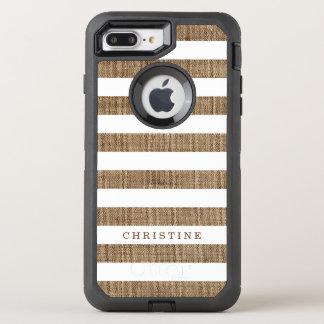 Nom de monogramme de regard de toile de jute barré coque OtterBox defender iPhone 8 plus/7 plus