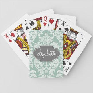 Nom en bon état et gris de coutume de motif de dam jeu de cartes