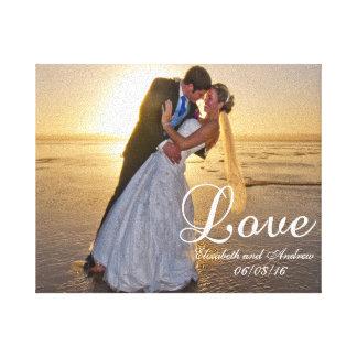 Nom fait sur commande d'amour de photo de mariage toiles