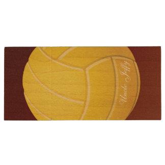 Nom jaune de monogramme de volleyball clé USB