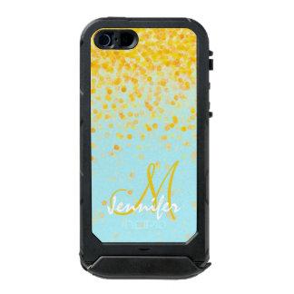 Nom jaune d'or Girly d'ombre de turquoise de Coque iPhone 5 Incipio ATLAS ID™