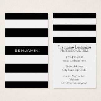 Nom noir et blanc de coutume de motif rayé cartes de visite