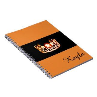Nom orange de coutume de carnet de couronne de la