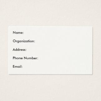 Nom : Organisation : Adresse : Numéro de téléphone Cartes De Visite