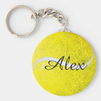 Nom personnalisé par balle de tennis porte-clé rond