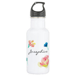 Nom personnalisé, peinture d'aquarelle de fleur de bouteille d'eau