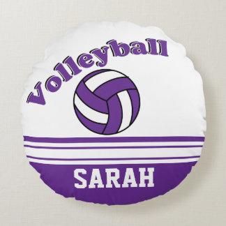 Nom pourpre et blanc du volleyball | coussins ronds