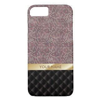Nom rose de coutume de scintillement d'or de luxe coque iPhone 8/7