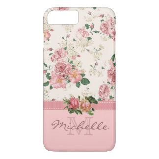 Nom rose floral rose vintage élégant de monogramme coque iPhone 7 plus