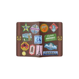 Nom vintage d'autocollant de valise de voyage du protège-passeport