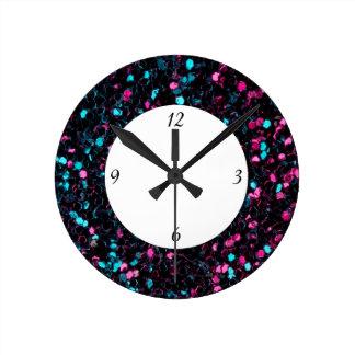 Nombre bleu rose scintillant des étincelles W de Horloge Ronde
