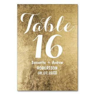 Nombre de luxe de table de mariage de feuille d'or