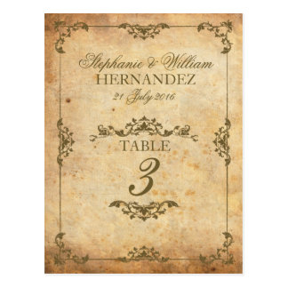 Nombre vintage de Tableau de réception de mariage Cartes Postales