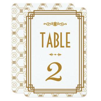 Nombres blancs de Tableau de mariage d'art déco Carton D'invitation 8,89 Cm X 12,70 Cm