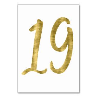 Nombres de Tableau avec l'effet numéro 19 de