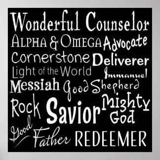 Noms de Dieu de la bible en noir et blanc Poster