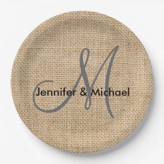 Noms rustiques de marié de jeune mariée de mariage assiettes en papier