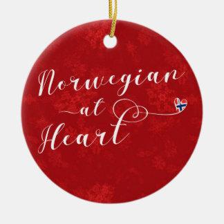Norvégien au coeur, ornement d'arbre de Noël