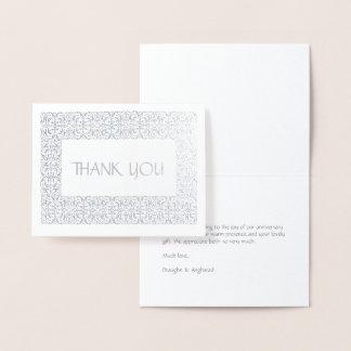 """Note argentée d'aluminium de """"Merci"""" de Carte Dorée"""