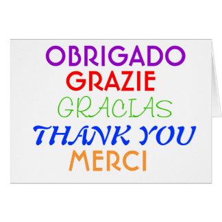 Note de Merci dans différentes langues Carte De Vœux