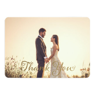 Note de Merci de photo de mariage, effet d'or de Carton D'invitation 12,7 Cm X 17,78 Cm