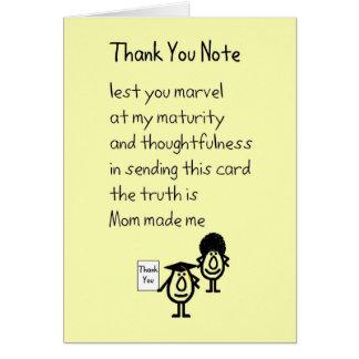 Note de Merci - un cadeau d'obtention du diplôme Carte De Vœux
