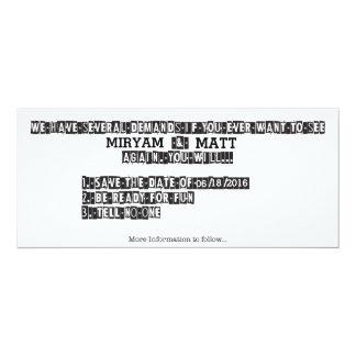 Note de rançon - faites gagner la date carton d'invitation  10,16 cm x 23,49 cm